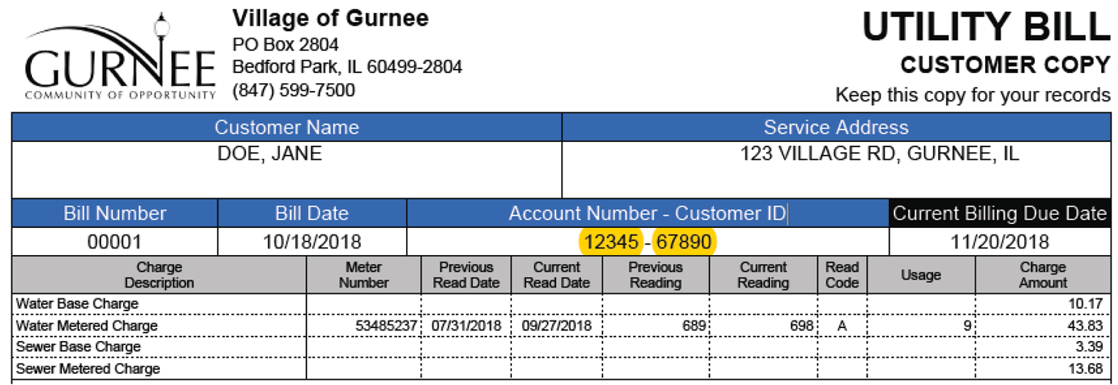 Picture of current water bill with account number and customer ID highlighted to show location on bill.